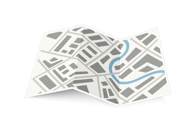 Składana mapa miasta z cieniem na białym tle