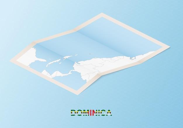 Składana papierowa mapa dominiki z sąsiednimi krajami w stylu izometrycznym.