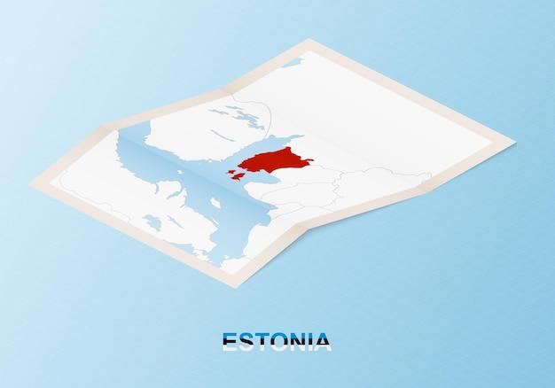 Składana papierowa mapa estonii z sąsiednimi krajami w stylu izometrycznym.