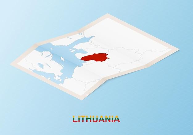 Składana papierowa mapa litwy z sąsiednimi krajami w stylu izometrycznym.