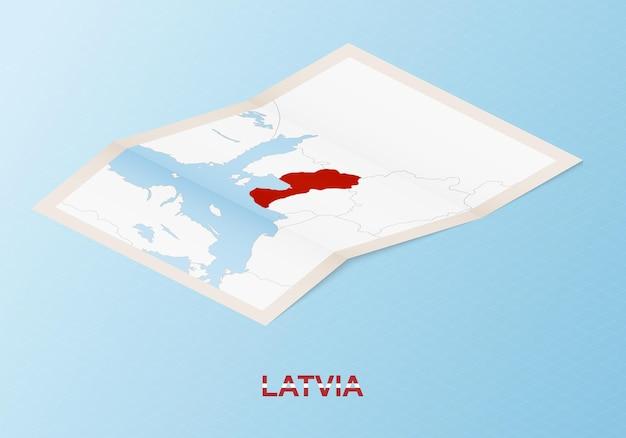 Składana papierowa mapa łotwy z sąsiednimi krajami w stylu izometrycznym.