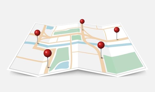 Składana papierowa mapa miasta z czerwoną pinezką
