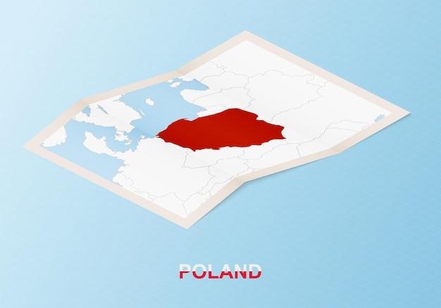 Składana, papierowa mapa polski z sąsiednimi krajami w stylu izometrycznym.