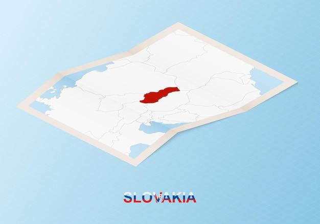Składana papierowa mapa słowacji z sąsiednimi krajami w stylu izometrycznym.