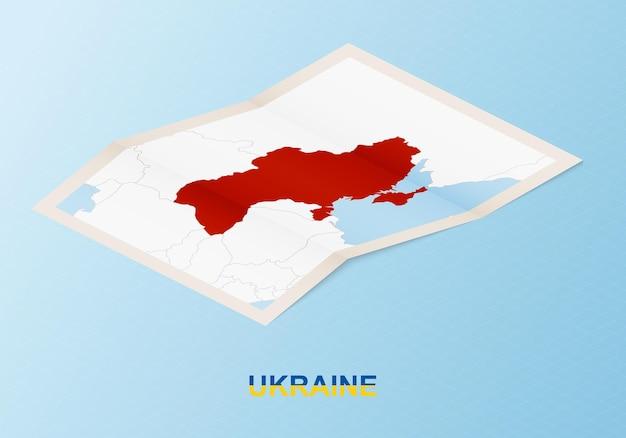 Składana papierowa mapa ukrainy z sąsiednimi krajami w stylu izometrycznym.