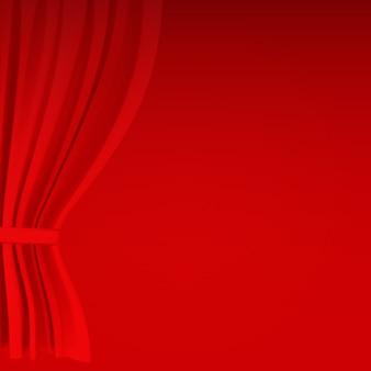 Składana realistyczna kolorowa czerwona aksamitna zasłona. opcja kurtyny w domu w kinie. ilustracja.