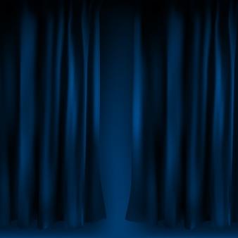 Składana realistyczna kolorowa niebieska aksamitna zasłona. opcja kurtyny w domu w kinie. ilustracja