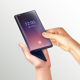 Składana realistyczna kompozycja smartfona z ludzkimi rękami trzyma składany telefon przy ekranie na gradiencie