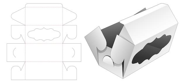 Składane pudełko z szablonem wycinanym w oknie krzywej