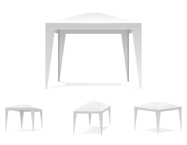Składany biały namiot lub baldachim