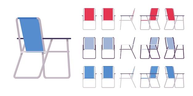 Składany metalowy zestaw krzeseł