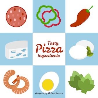 Składniki do pizzy na tle niebieskich i białych kwadratów