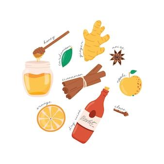 Składniki grzanego wina jabłko imbir miód goździk pomarańczowy cynamon