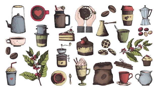 Składniki kawy i przedmioty w stylu konspektu, w kolorze. ikony kawy, ziarna i kubki, młynek do kawy i desery. ilustracja wektorowa