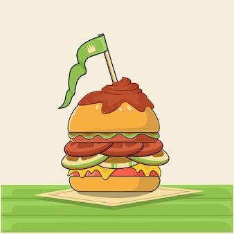 Składniki koncepcji hamburger. bułka, sałatka, pomidor, ser, kotlet, jajko, bekon, pieczarki, cebula, keczup. ilustracja kolorowy