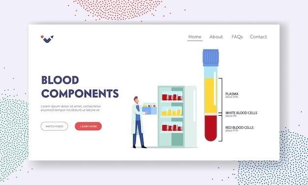 Składniki krwi, szablon strony docelowej medycyny. . mały mężczyzna postać lekarza nosi butelki z próbkami w ogromnej szklanej kolbie z osoczem żywej krwi, białymi i czerwonymi krwinkami. ilustracja kreskówka wektor
