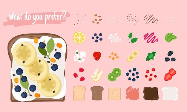 Składniki na kanapkę. kreskówka kawałek jedzenia cytryny i kiwi, świeżej mięty i bananów, truskawek i gruszek, elementy ilustracji wektorowych dla smacznego burgera owocowego