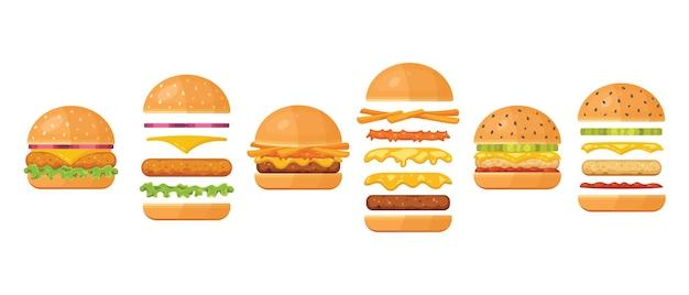 Składniki na klasyczny burger na białym tle. składniki: bułka, kotlet, ser, bekon, sos, bułeczki, pomidor, cebula, ogórki, szynka wołowa.