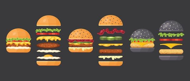 Składniki na klasyczny burger na białym tle. składniki bułka, kotlet, ser, boczek, sos, bułeczki, pomidor, cebula, ogórki, szynka wołowa. składnik fast food do burgerów.