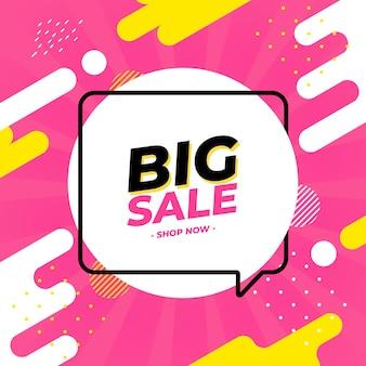 Sklep Big Sale Teraz Post W Mediach Społecznościowych Premium Wektorów