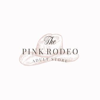 Sklep dla dorosłych pink rodeo. streszczenie znak, symbol lub szablon logo.
