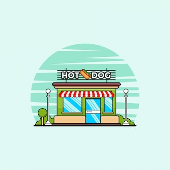 Sklep fast food z ilustracją clipartów hot dog. koncepcja clipartów fast food na białym tle. płaski wektor stylu cartoon