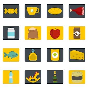 Sklep ikony nawigacji żywności zestaw w stylu płaskiej