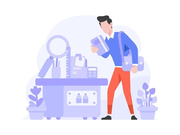 Sklep internetowy e-commerce kategoria artykuły biurowe wybierz stacjonarny styl płaskich ilustracji