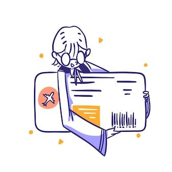 Sklep internetowy e-commerce kategoria podróży kup bilet na samolot koncepcja ikony zarys ręcznie rysowany styl