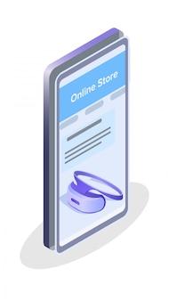 Sklep internetowy izometryczny ilustracja aplikacji