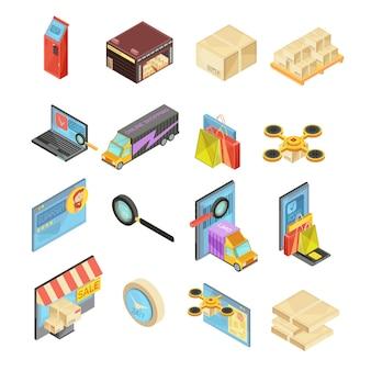 Sklep internetowy izometryczny zestaw z wyszukiwaniem towarów, magazyn, śledzenie dostawy, płatność online, pakiet ilustracji wektorowych odizolowane