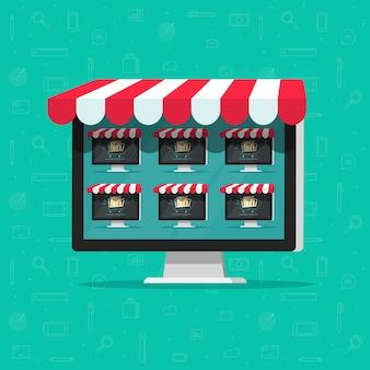 Sklep internetowy sklep internetowy lub sklep internetowy wielu dostawców na ekranie komputera z płaskim kreskówka