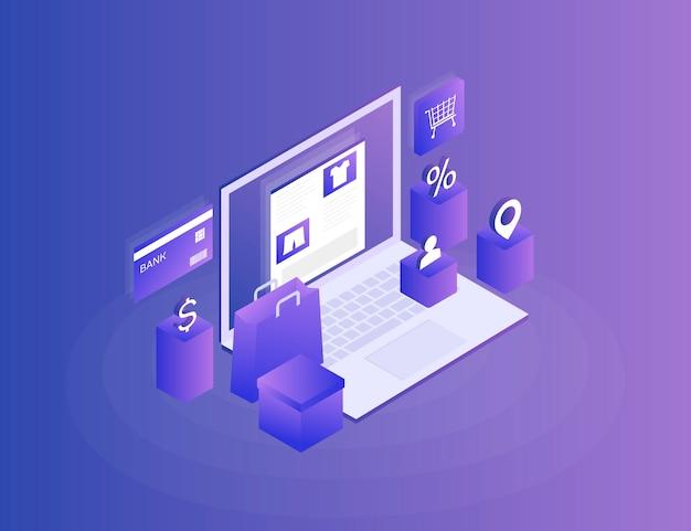 Sklep internetowy, sklep internetowy. przelej pieniądze z karty. izometryczny obraz laptopa, karty bankowej i torby na zakupy na niebiesko. 3d mieszkanie. nowoczesna ilustracja