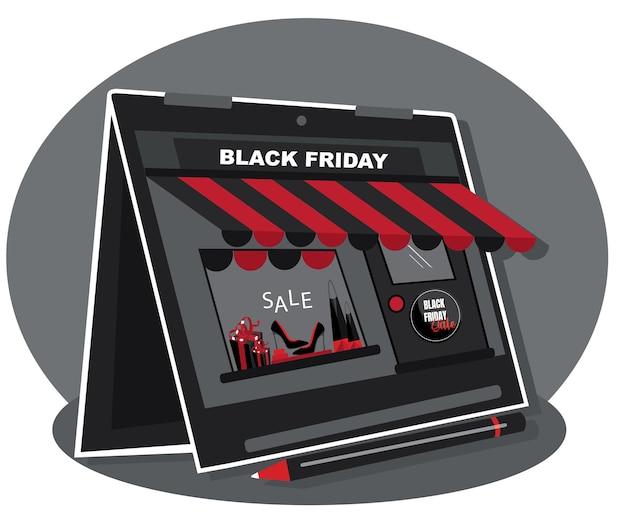 Sklep internetowy transparent na białym tle. projekt dla e-commerce. płaska konstrukcja dla e-commerce. zakupy. ilustracja wektorowa. reklama zgoda na sprzedaż w czarny piątek
