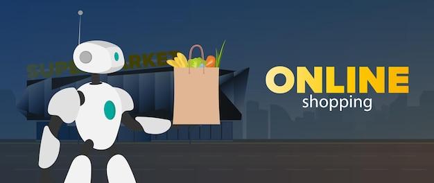 Sklep internetowy z banerami. robot trzyma w rękach torbę. koncepcja zakupów i dostawy online. wektor.