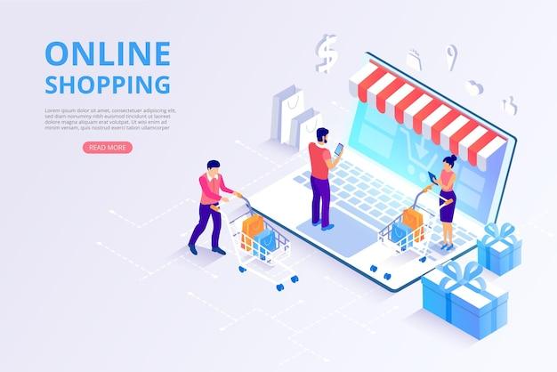 Sklep internetowy zakupy płatności online szablon strony głównej z 3d laptopami i klientami