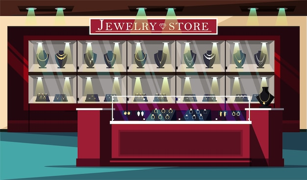 Sklep jubilerski prezentuje ilustrację, biżuterię i układ plakatu reklamowego butiku z klejnotami.