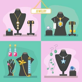 Sklep jubilerski. przedmioty kosmetyczne dla kobiety drogie klejnoty diamenty bransoletki cenne wisiorki glamour akcesoria panny młodej zdjęcia