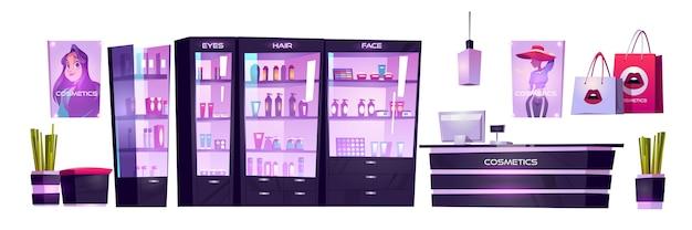 Sklep kosmetyczny z produktami do makijażu, pielęgnacji skóry i perfumami w gablotach. wektor kreskówka wnętrze zestaw kosmetyczny z kasą na ladzie, półki z towarami,