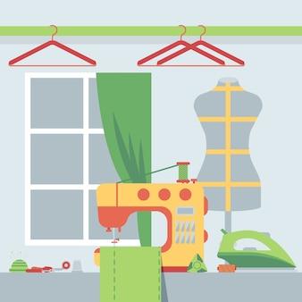 Sklep krawiecki, ilustracja. pokój atelier z maszyną do szycia i manekinem krawcowym. miejsce pracy krawcowej, narzędzia do szycia i akcesoria krawieckie. studio projektantów mody