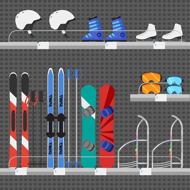Sklep lub lada sklepowa ze sprzętem do sportów zimowych. wypożyczalnia sprzętu narciarskiego i snowboardowego.