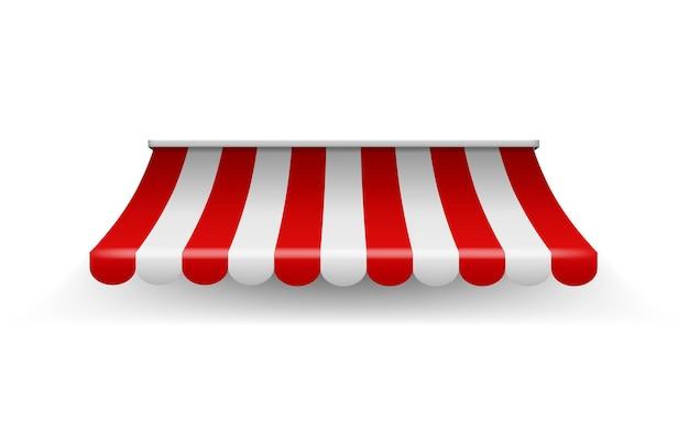 Sklep markizy. namiot w paski na zakupy do sklepu spożywczego lub restauracji, wektor realistyczny czerwony dach sklepu z parasolem