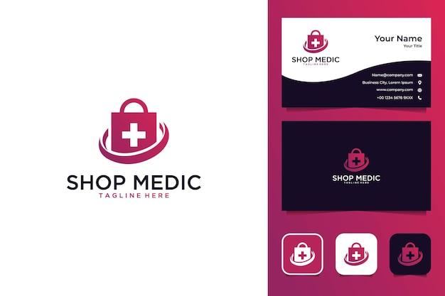 Sklep medyczny nowoczesny projekt logo i wizytówka