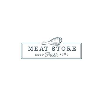 Sklep mięsny jedzenie vintage logo