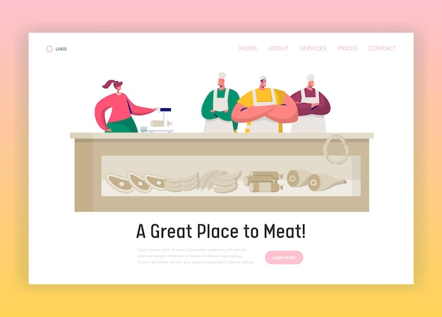 Sklep mięsny market shopkeeper landing page.