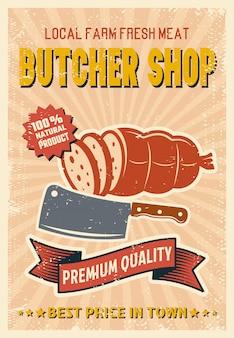 Sklep mięsny plakat w stylu retro