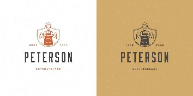 Sklep mięsny projektowanie logo wektor ilustracja szef kuchni trzymając kiełbaski sylwetka dobre dla odznaka menu restauracji. szablon godło rocznika typografii.
