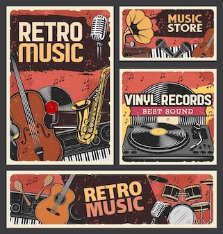 Sklep muzyczny retro i sklep z płytami winylowymi. instrumenty muzyczne, sprzęt do nagrywania i odtwarzania. skrzypce, saksofon i syntezator, fortepian, gitara i maraca, grawerowany gramofon płyt winylowych
