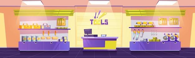 Sklep narzędziowy z wiertarkami, piłami ręcznymi, śrubokrętami i kluczami na półkach, wektor kreskówka wnętrze emp...