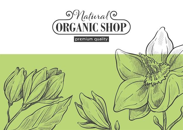 Sklep naturalny i ekologiczny, eko market z produktami i bezpiecznymi składnikami. najwyższa jakość produkcji. kwiaty w rozkwicie i prosty kwiatowy wzór. zarys szkicu monochromatycznego, wektor w stylu płaski